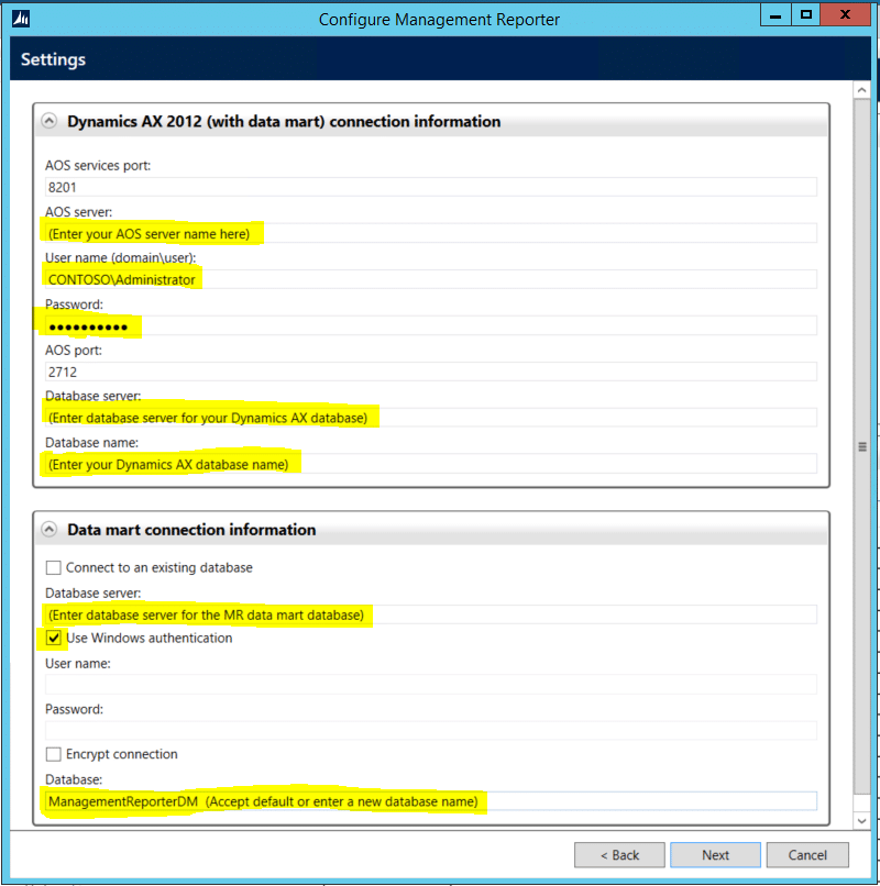 Dynamics AX Connection Info