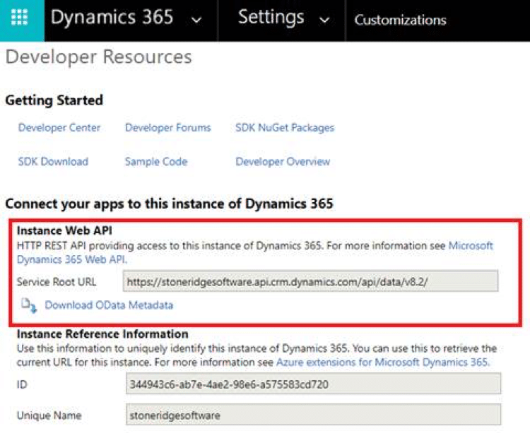 Find the correct URL under Developer Resources in Dynamics 365