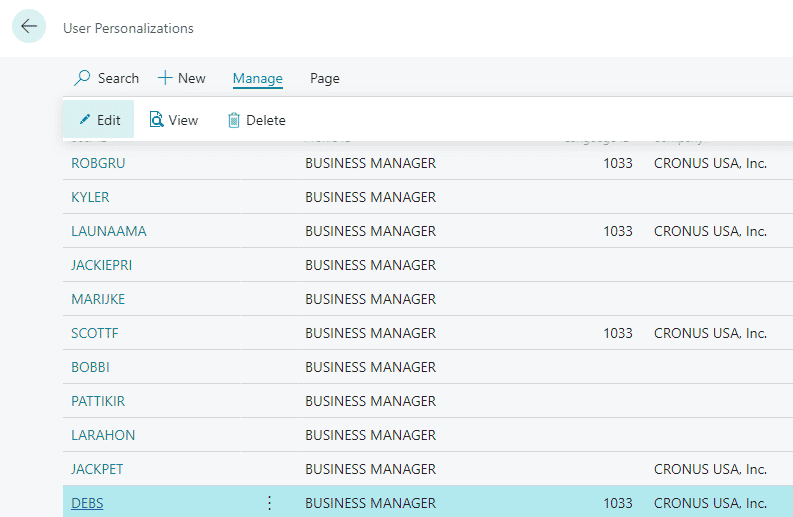 user personalization manage